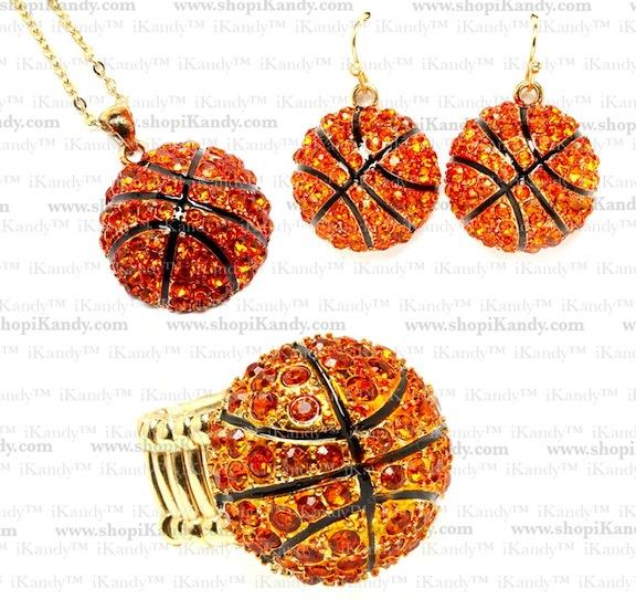 Basketball Bling Sports Necklace Set