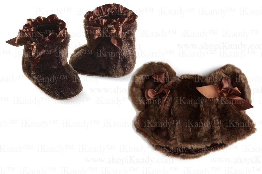 Brown Fur Boots OR Brown Fur Hat by Mud Pie
