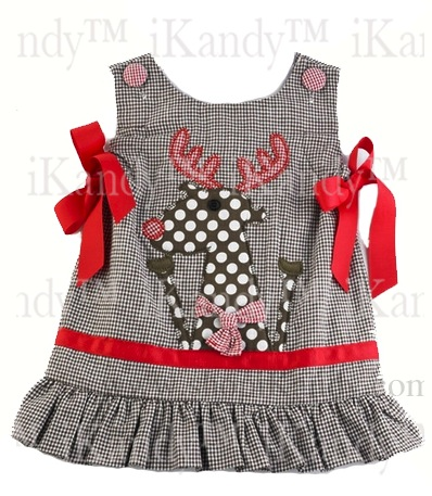 Brown Gingham Jumper w/Reindeer by Mud Pie