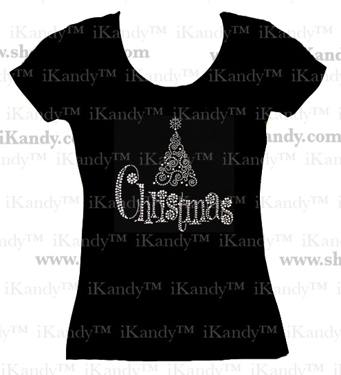 Adult Christmas Tree Bling T-shirt