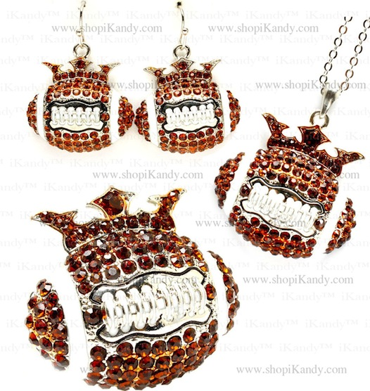 Football Crown Bling Sports Necklace Set