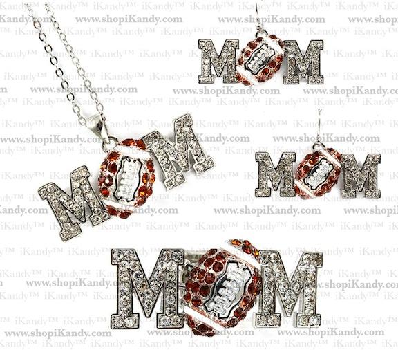 Football Mom Sports Necklace Set