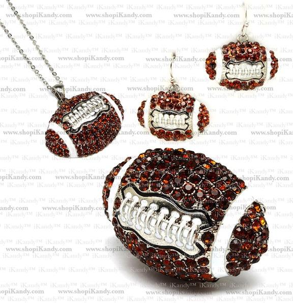 Football Sports Necklace Jewelry Set
