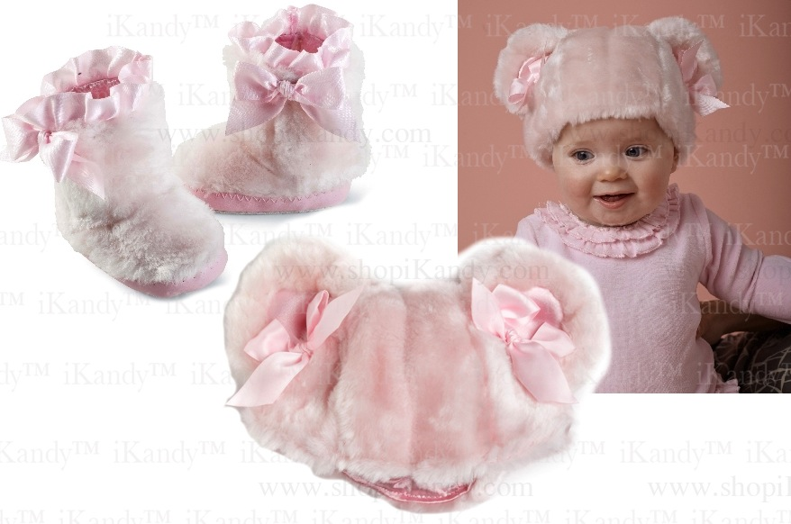 Pink Fur Boots OR Pink Fur Hat by Mud Pie