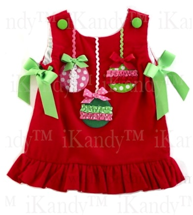 Red Corduroy Jumper w/Ornaments by Mud Pie