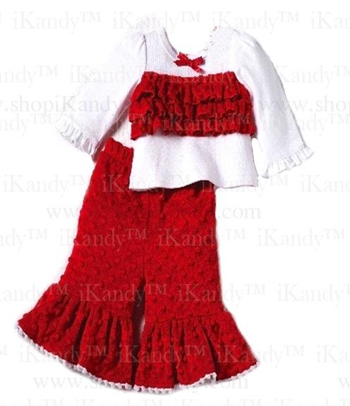 Red Minky 2 Piece Pant Set