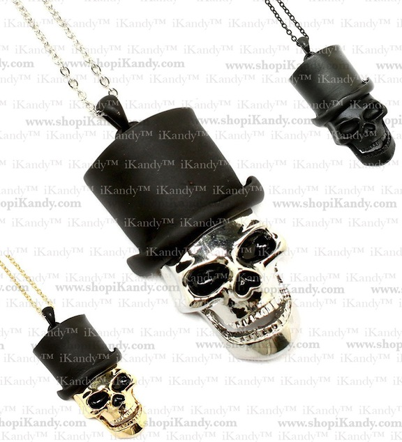 Skull Top Hat Charm Necklace