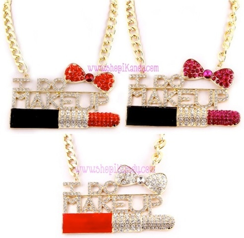 "Oversized ""I DO MAKEUP"" Makeup Artist Bling Necklace"