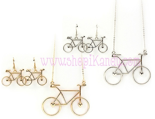 Bicycle Pendant Necklace & Earring Set