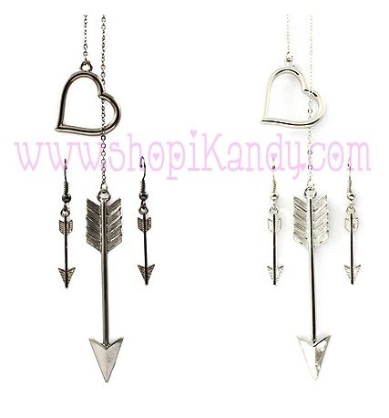 Heart & Arrow Necklace & Earring Set