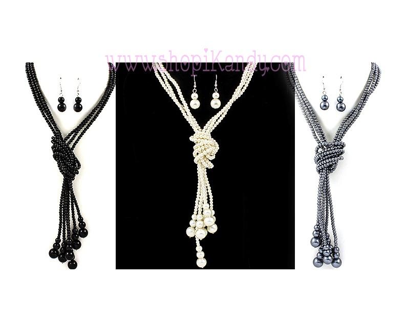 Multi Strand Pearl Necklace Set