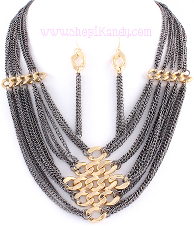 Multi Layered Two Tone Necklace & Earring Set