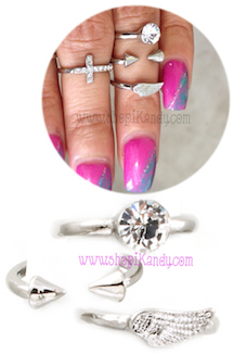 Three Midi Rings Set