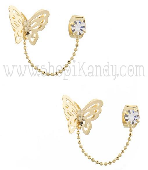 Butterfly Chain Double Post Earrings