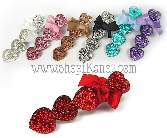 Bling Hearts Hair Clip