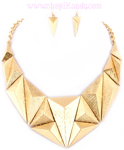 Abstract Triangle Bib Necklace & Earring Set