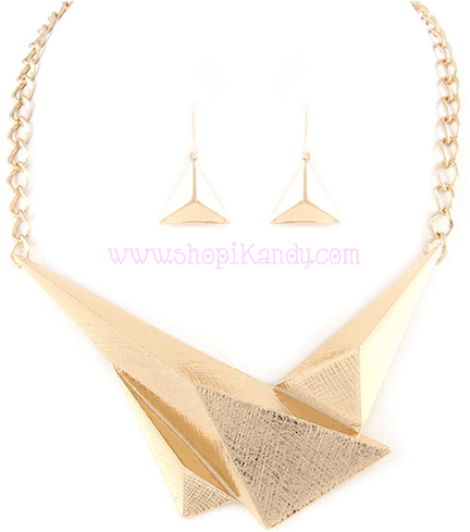 Abstract Triangle Necklace & Earring Set