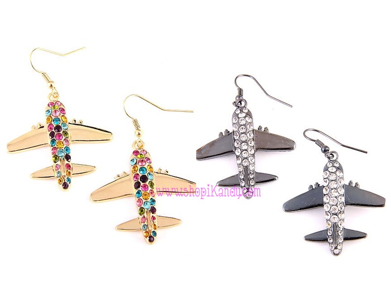 Crystal Airplane Earrings
