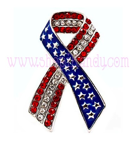 American Flag Ribbon Rhinestone Brooch & Pin