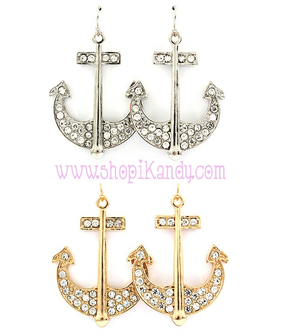 Nautical Pave Anchor Earrings
