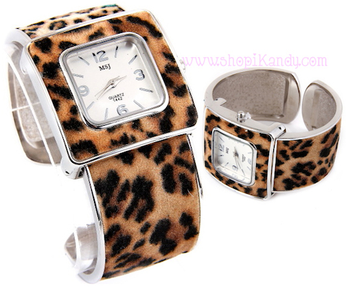 Animal Print Cuff Style Fashion Watch