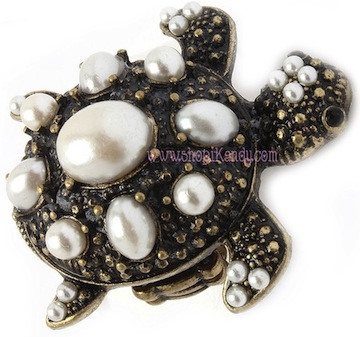 Antique Pearl Turtle Ring