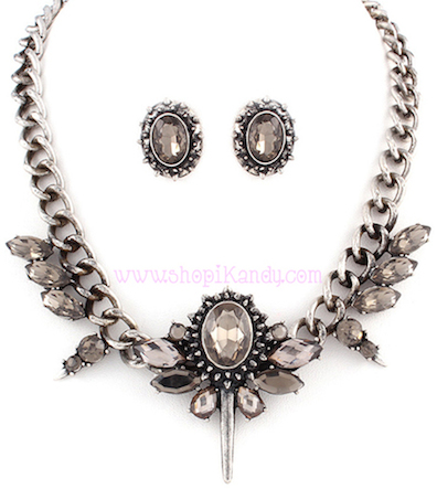 Antique Stone Spiked Necklace & Earring Set