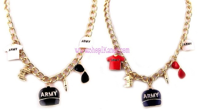 Army Theme Charm Necklace