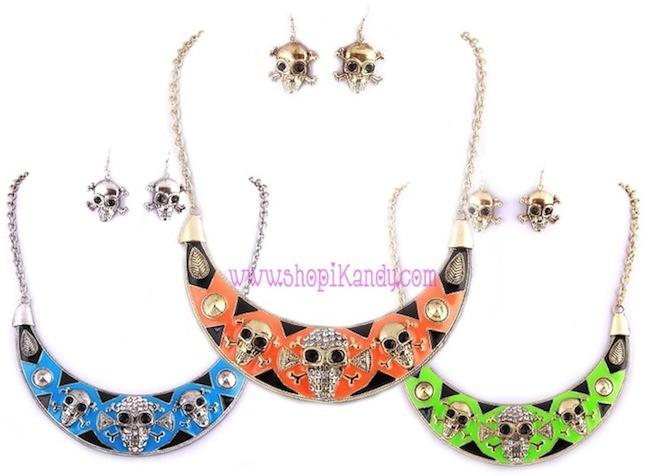 Aztec Skull Bib Necklace & Earring Set