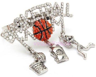 BASKETBALL MOM Two Finger Sports Charm Ring