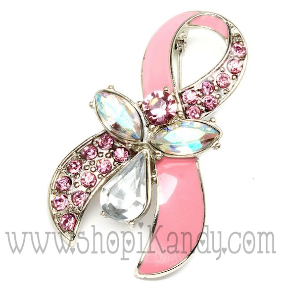 Breast Cancer Rhinestone Awareness Ribbon w/Angel Brooch & Pin