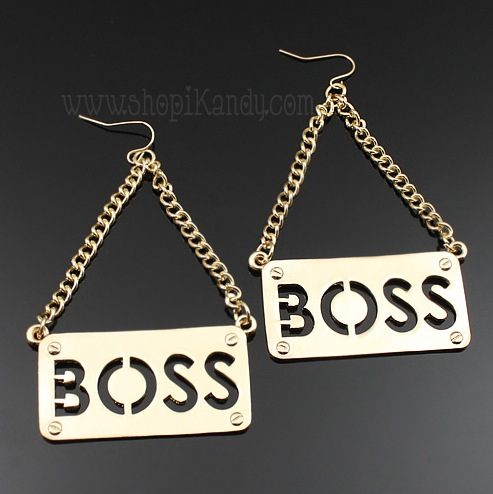 """BOSS"" Plaque Earrings"
