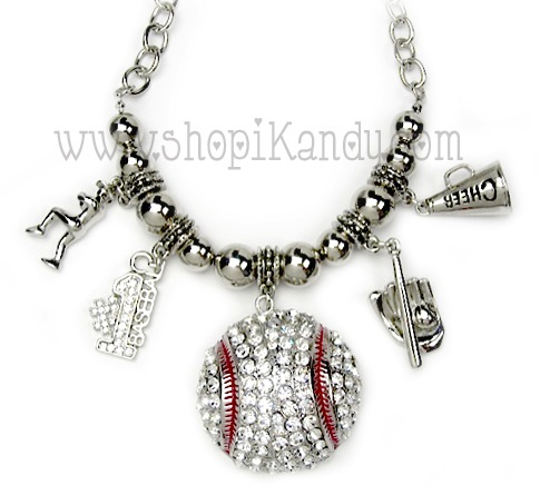 Chunky Bling Baseball Charm Sports Necklace