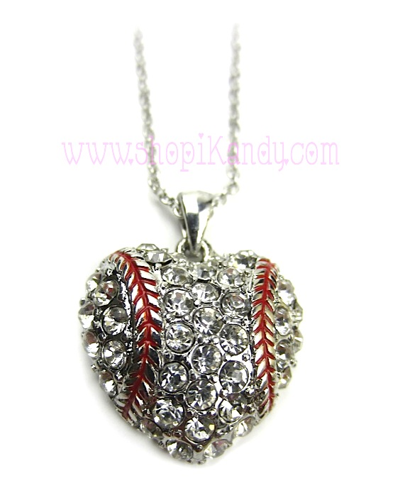 Baseball Heart Bling Necklace Pendant