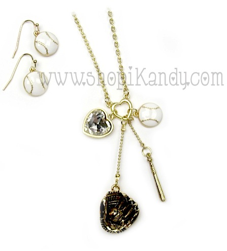 Baseball Charm Sports Necklace Set
