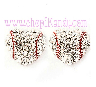 Baseball Heart Sports Post Earrings