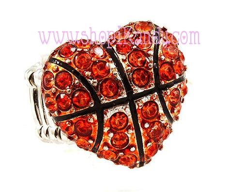 Basketball Heart Bling Sports Ring