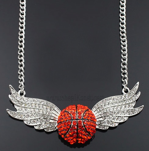 Crystal Wings Basketball Sports Necklace