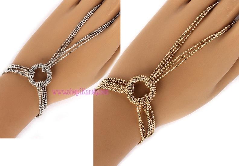 Beaded Multi Chain Circle Ringlet (Bracelet w/Ring)