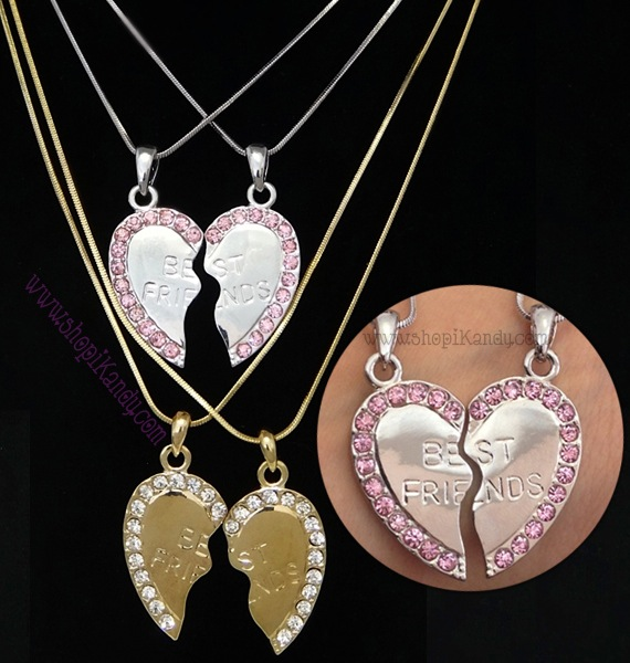 BEST FRIENDS Split Heart Necklace Set