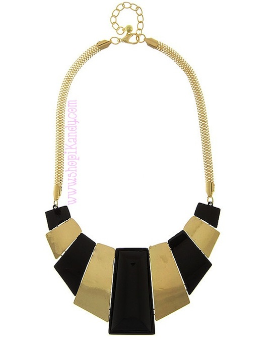 Deco Flat Hammered Bib Necklace