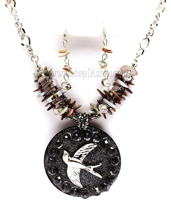 Glass Bird Bead Necklace Set