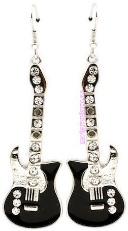 Black Guitar Earrings