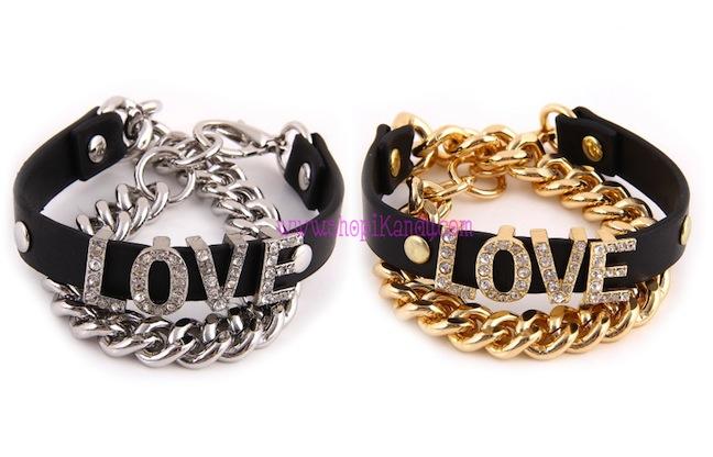 Black Leatherette Rhinestone LOVE Wrap Bracelet
