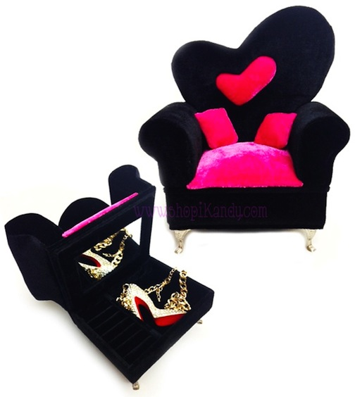 Large Velvet Sofa Chair Jewelry Box