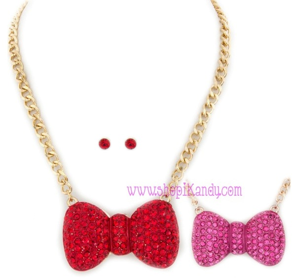 Crystal Bling Bow Necklace & Earring Set