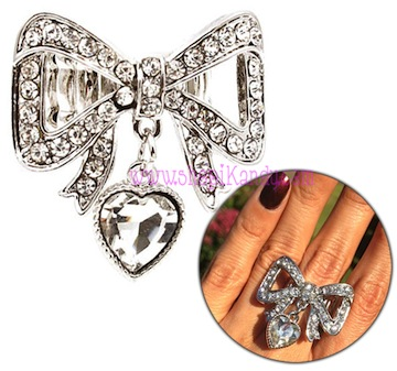 Bling Bow W/ Heart Charm Ring