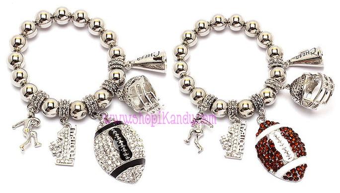Bling Football Charm Bracelet