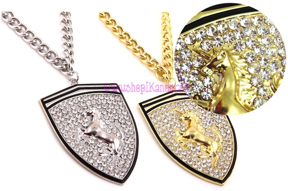 Bling Unicorn Emblem Pendant Necklace