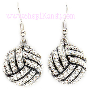 Bling Volleyball Sports Earrings